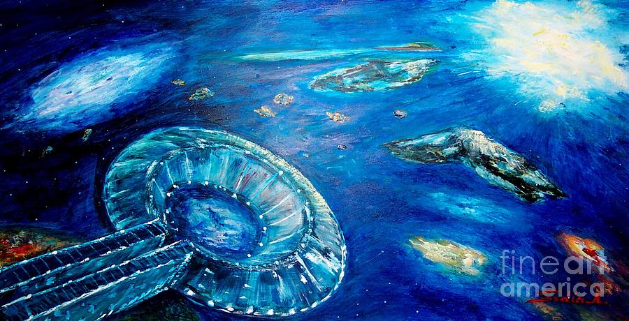 Mary Sedici Painting - Into The Blue  by Mary Sedici