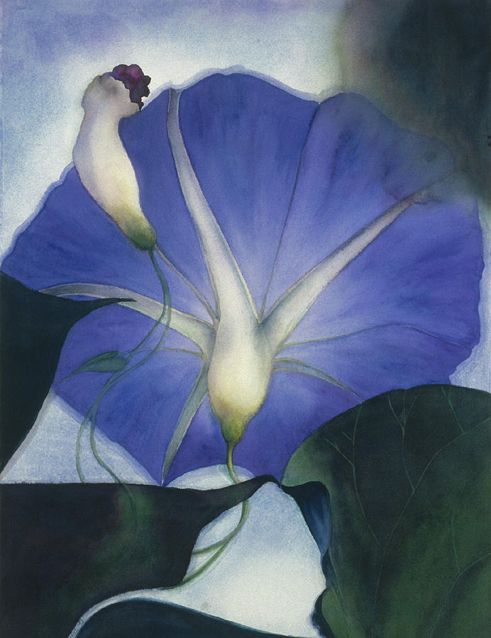 Morning Glory Painting - Into The Blue by Nancy  Ethiel