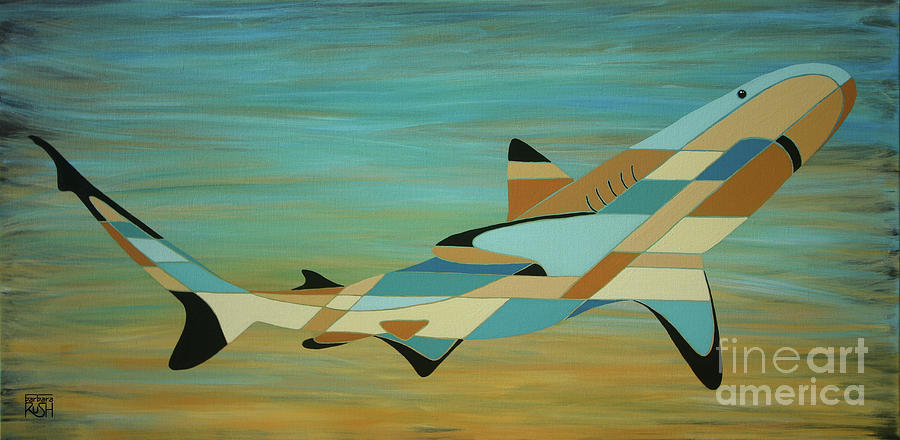 Into the Blue Shark Painting by Barbara Rush
