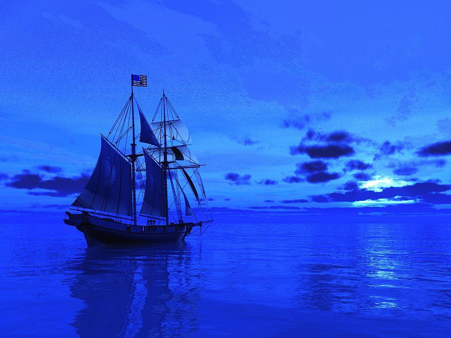 Sailing Painting - Into The Blue by Timothy McPherson