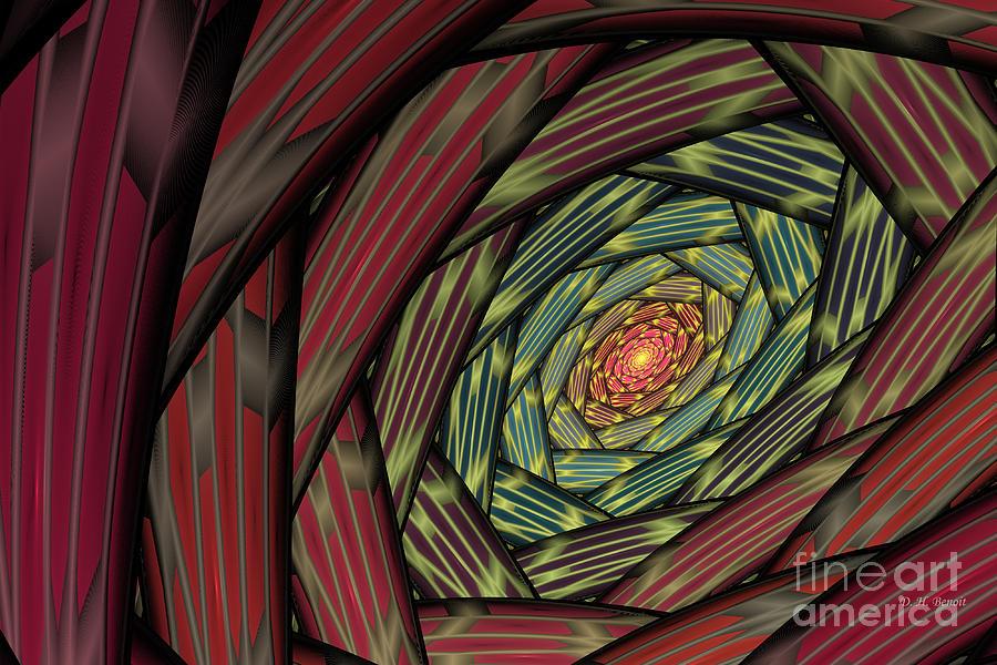 Fractal Digital Art - Into The Fantasy Tunnel by Deborah Benoit