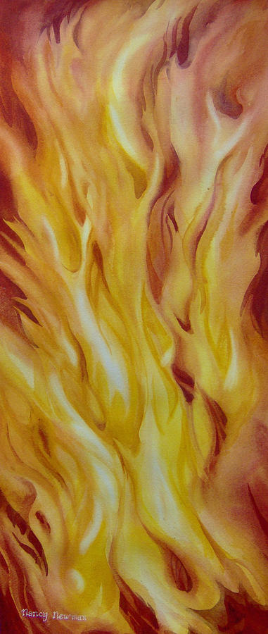 Flames Painting - Into-the-fire-ii by Nancy Newman