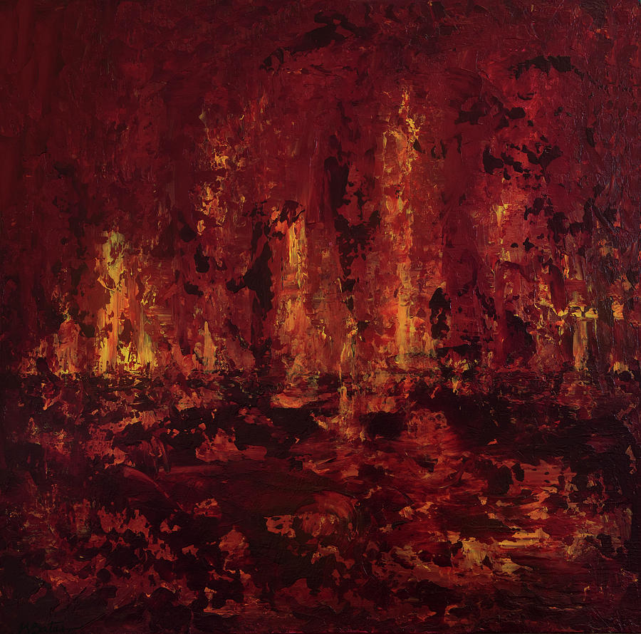 Abstract Painting - Into The Fire by K Batson Art