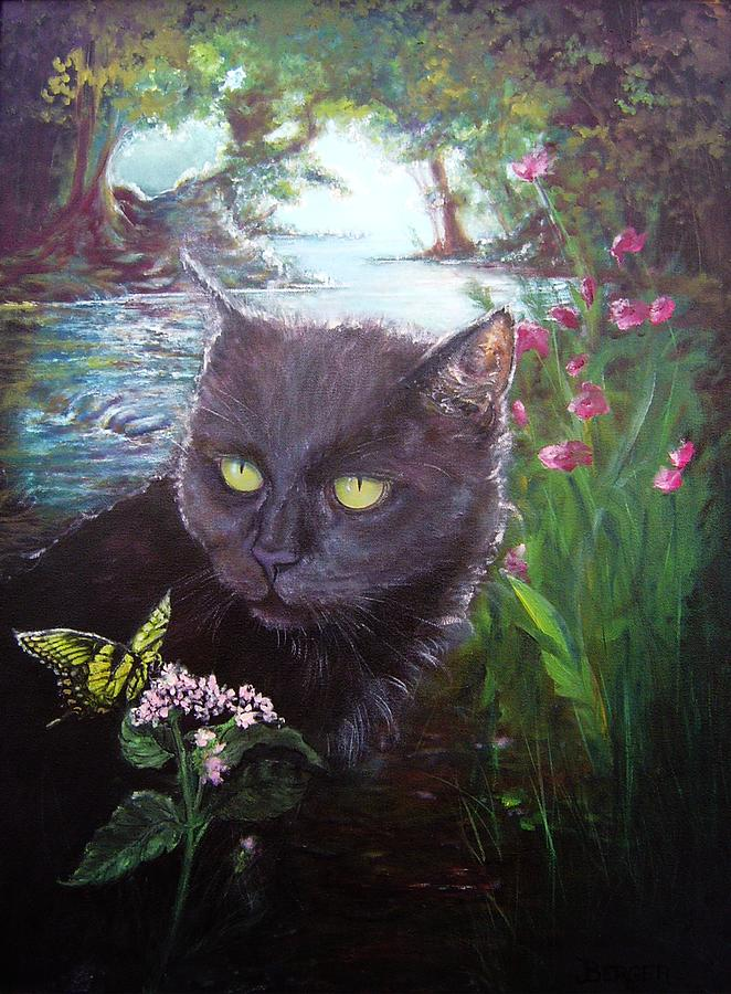 Black Cat Painting - Into the Light by James Berger