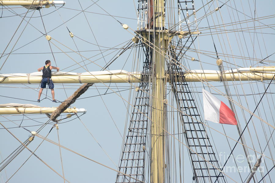 Tall Ship Photograph - Into The Rigging by Charles Owens