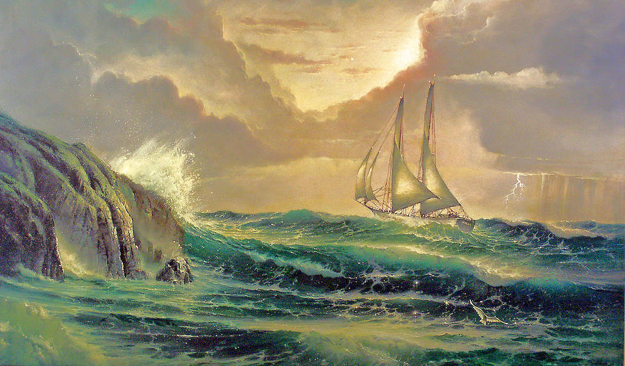 Seascape Painting - Into The Sea by Edward Barton