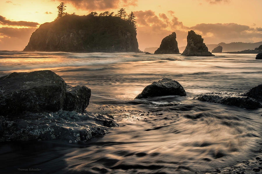 Olympic National Park Photograph - Into The Sea - Ruby Beach by T-S Fine Art Landscape Photography