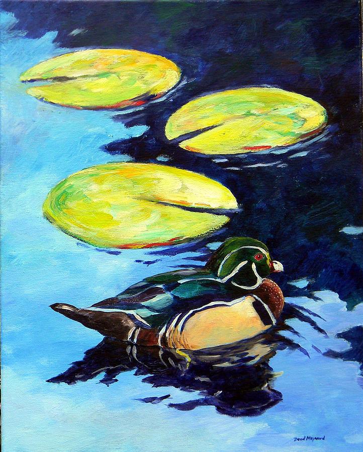 Wood Duck Painting - Into The Shadows by David  Maynard