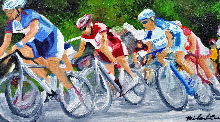 Cycling Painting - Into The Turn by Michael Lee