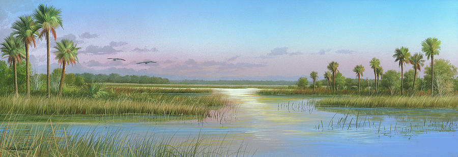 Marsh Painting - Intracoastal Glimmer by Mike Brown