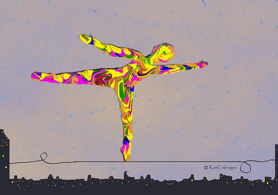 Digital Painting Digital Art - Intrepid On A Tight Rope by Kae Cheatham