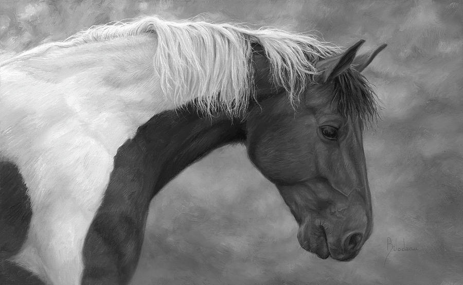Horse Painting - Intrigued - Black and White by Lucie Bilodeau