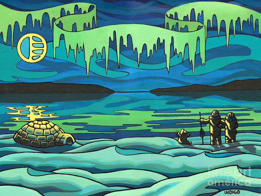 Inuit Painting - Inuit Love Arctic Landscape Painting by Kim Hunter