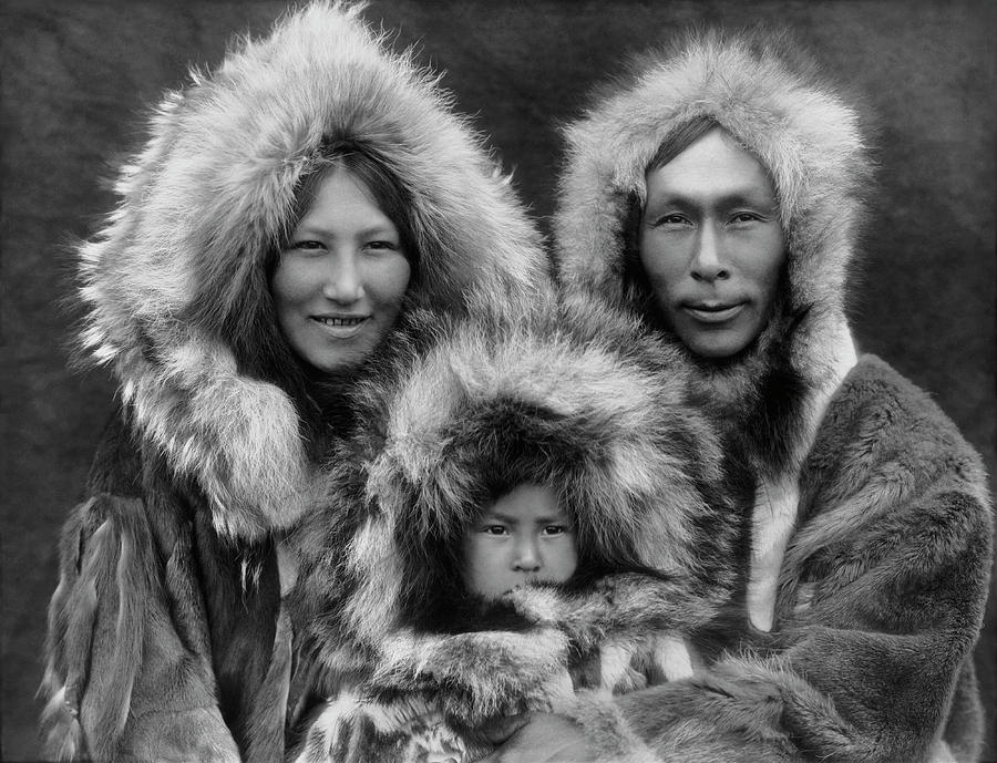 Inupiat Photograph - Inupiat Family Portrait - Alaska 1929 by War Is Hell Store