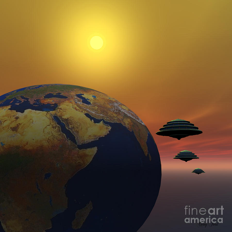 Spaceship Painting - Invasion by Corey Ford