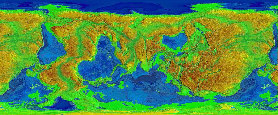 Inverted Elevation World Map Digital Art By Massimo Pangaea Pietrobon
