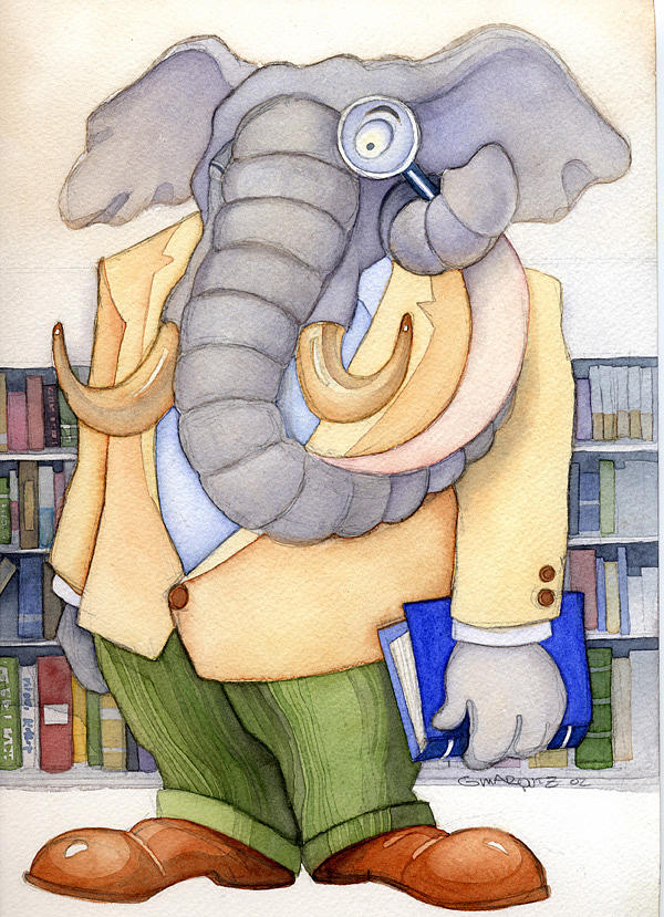 Elephant Painting - Investigate The Library by Greg Marquez