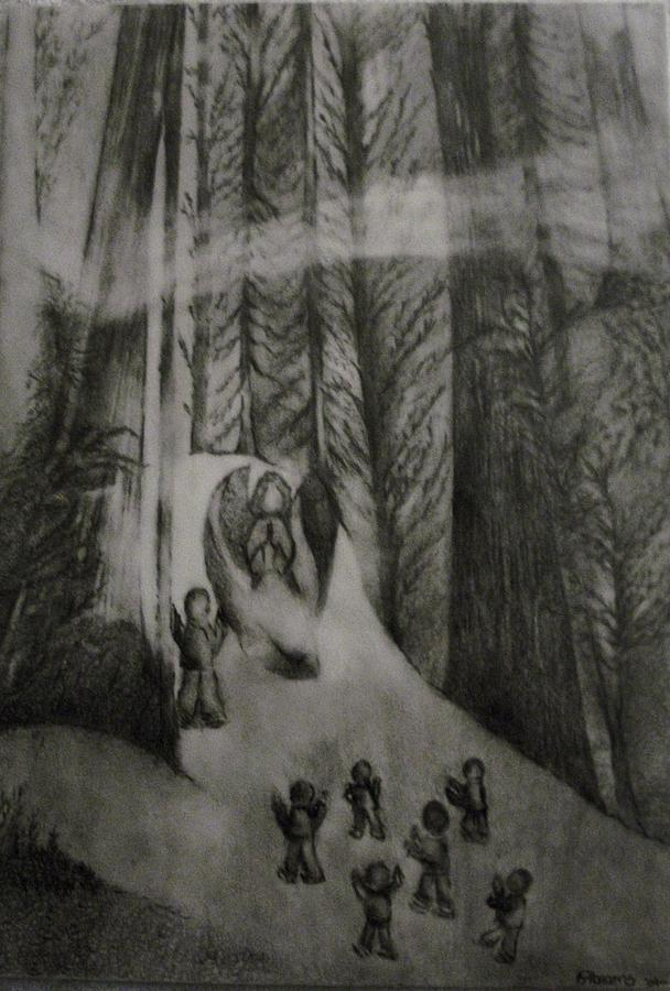 Visions Drawing - Invisible Shield-watchman On The Wall by Stacey Abrams