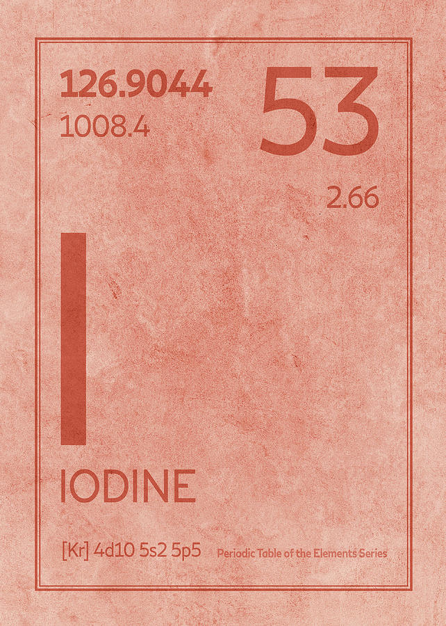 Iodine Element Symbol Periodic Table Series 053 Mixed Media By