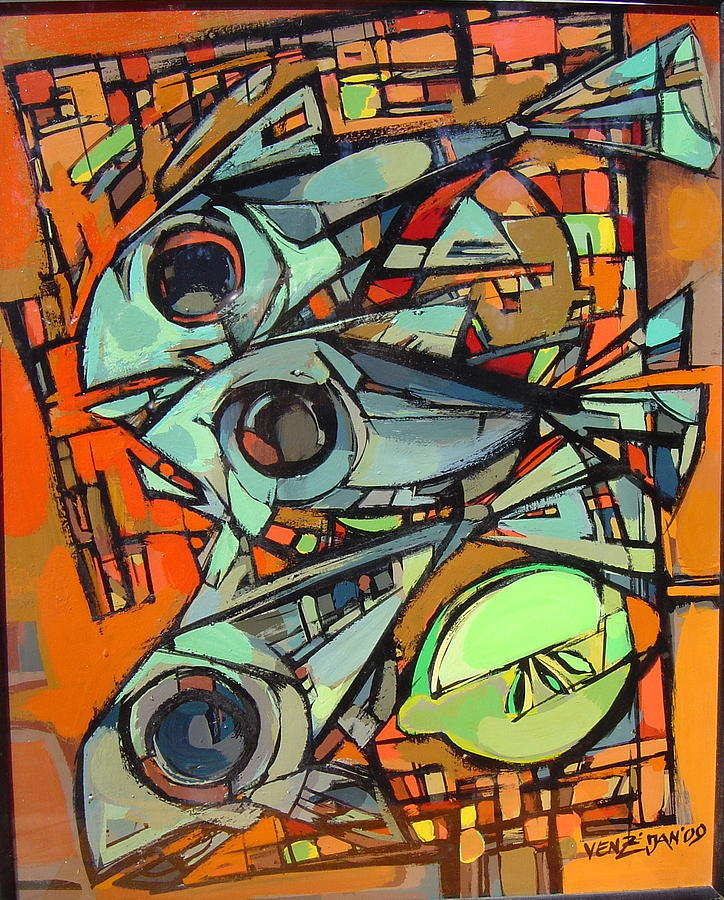 Abstract Painting - Ionian Fish by Venz Vesselinov
