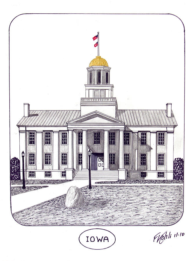 Iowa Old Capital Building Pen And Ink Drawing Drawing - Iowa by Frederic Kohli
