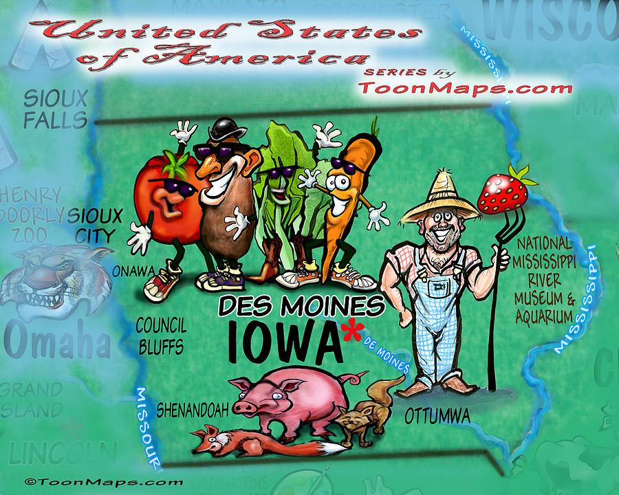 Iowa Fun Map Digital Art