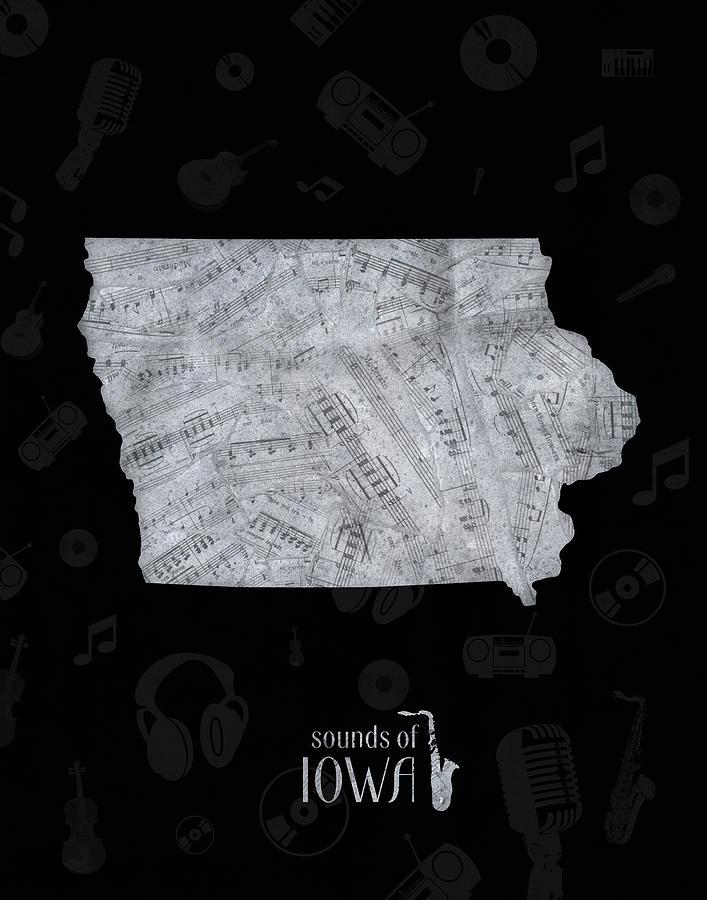 Iowa Map Music Notes 2 Digital Art