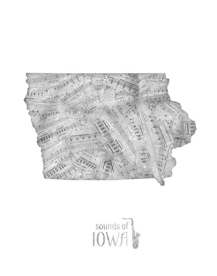 Iowa Map Music Notes Digital Art
