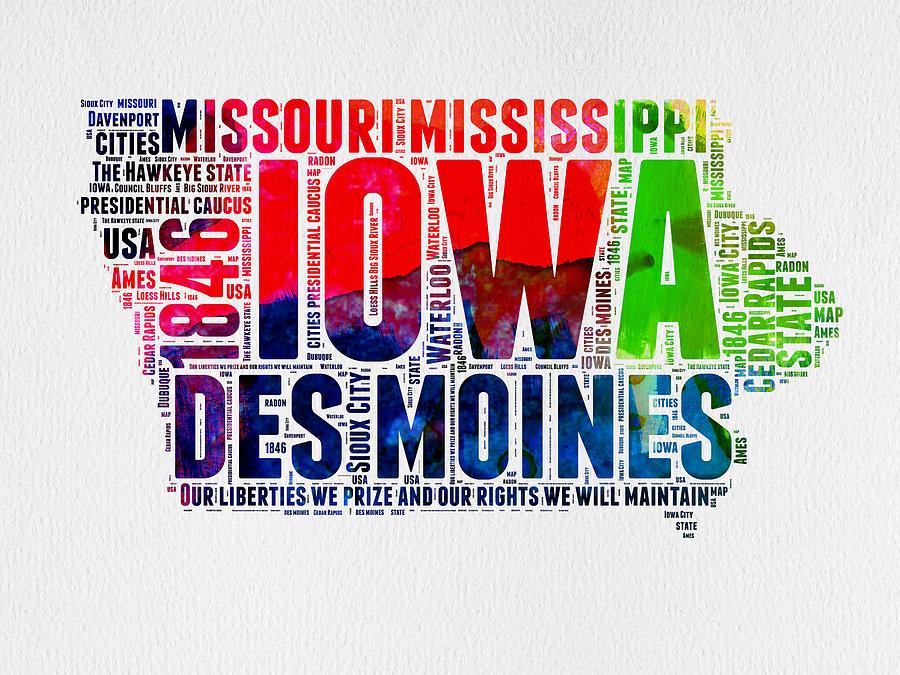 Iowa Digital Art - Iowa Watercolor Word Cloud  by Naxart Studio