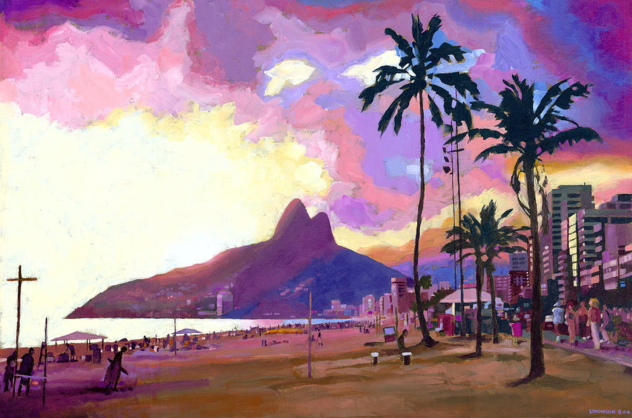 Ipanema Painting - Ipanema Sunset by Douglas Simonson