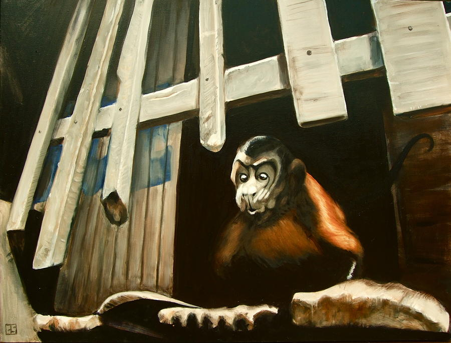 Monkey Painting - Iquitos Monkey by Chris  Slaymaker