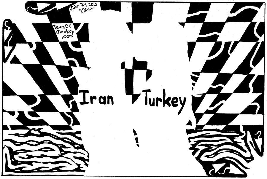 Sunset Drawing - Iran And Turkey Kissing At Sunset By Yonatan Frimer by Yonatan Frimer Maze Artist