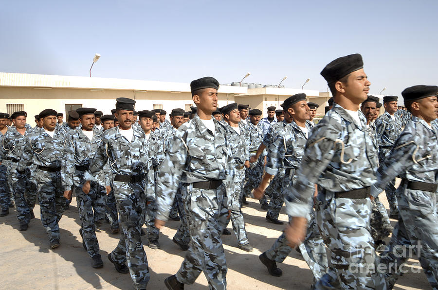 Bootcamp Photograph - Iraqi Police Cadets Being Trained by Andrew Chittock