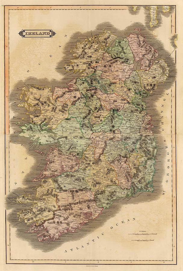 Map Drawing - Ireland 1831 by Mountain Dreams