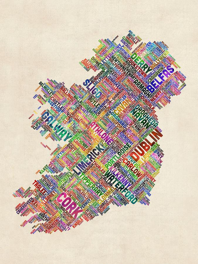 Irish Digital Art - Ireland Eire City Text Map Derry Version by Michael Tompsett