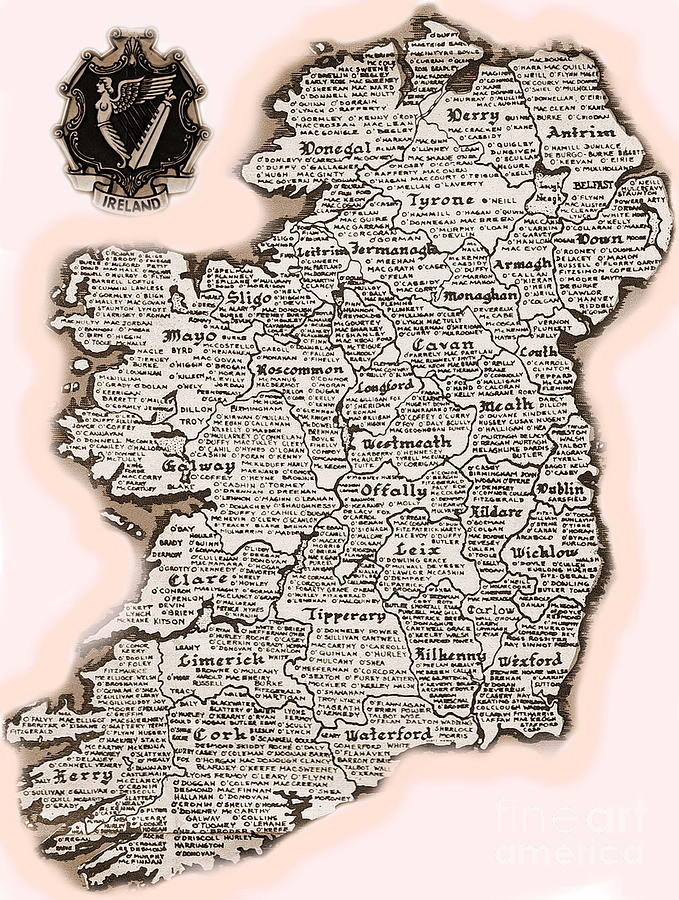 Val Byrne Mixed Media - Irelands Counties by Val Byrne