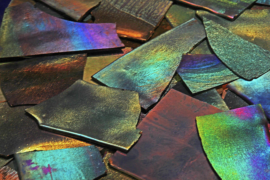 Iridescence Angles, Curves Greens Blues Browns Rusts Yellows Geometric 2 8312017  Photograph by David Frederick
