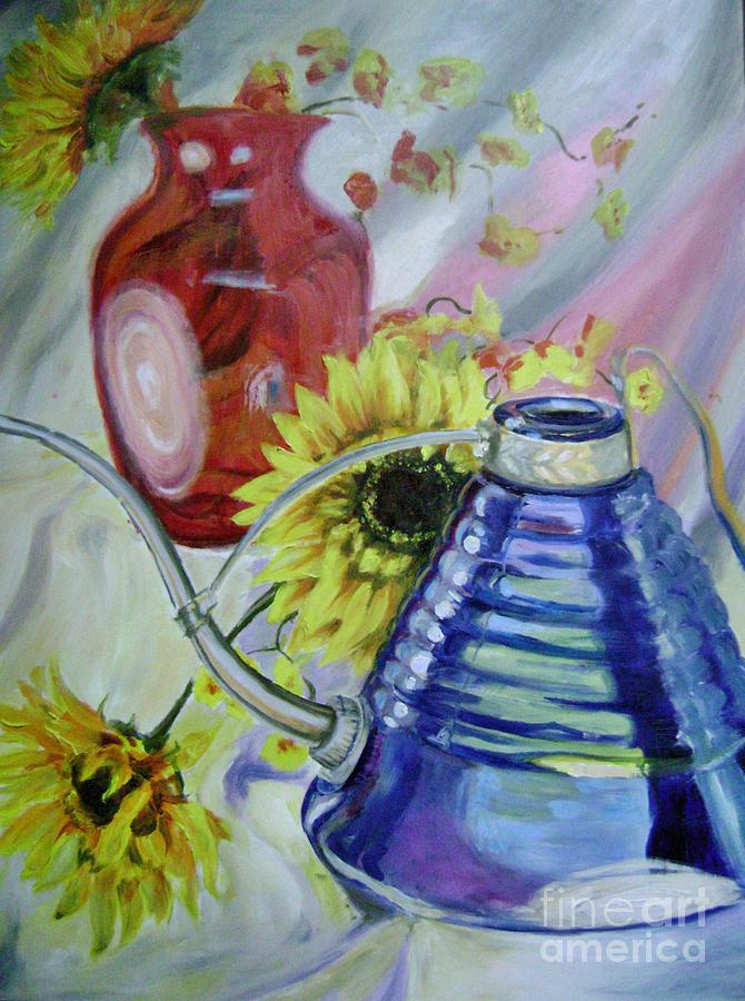 Sunflowers Painting - Iridescence by Lori McCray