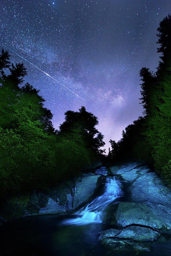 Iridium Flare Shines Above North Carolina Waterfall by Kevin Adams