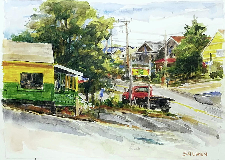 Landscape Paintings Painting - Irie Eats, Provincetown by Peter Salwen