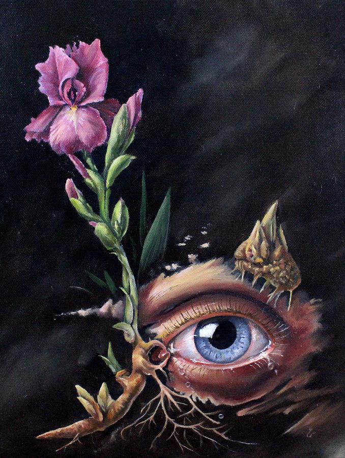 Oil Paint Painting - Iris, Allergies  by Kay Walker