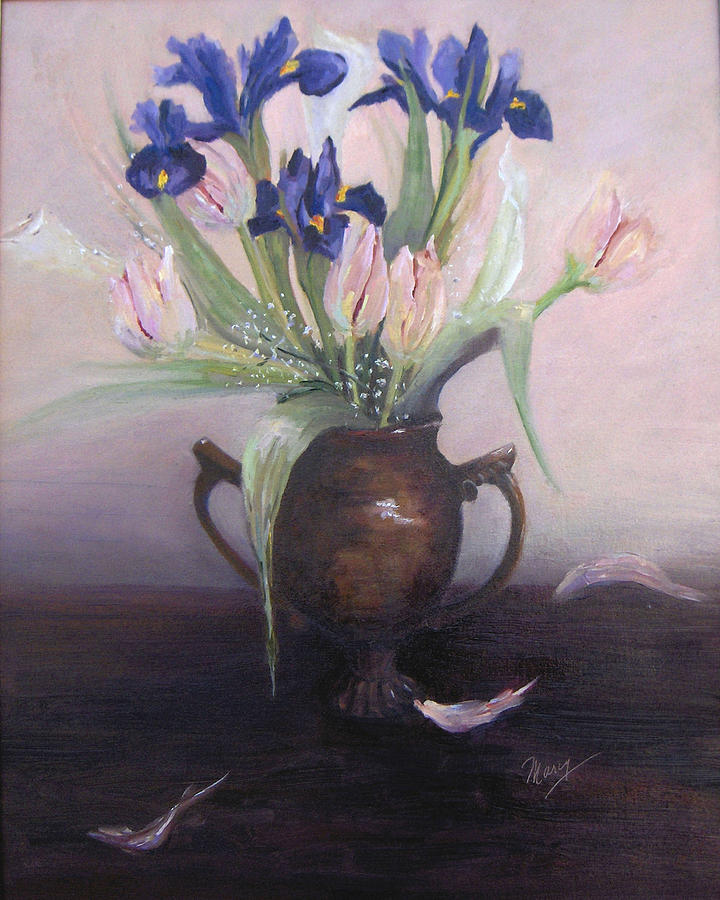 Still Life Painting - Iris And Tulips by Marcy Silverstein
