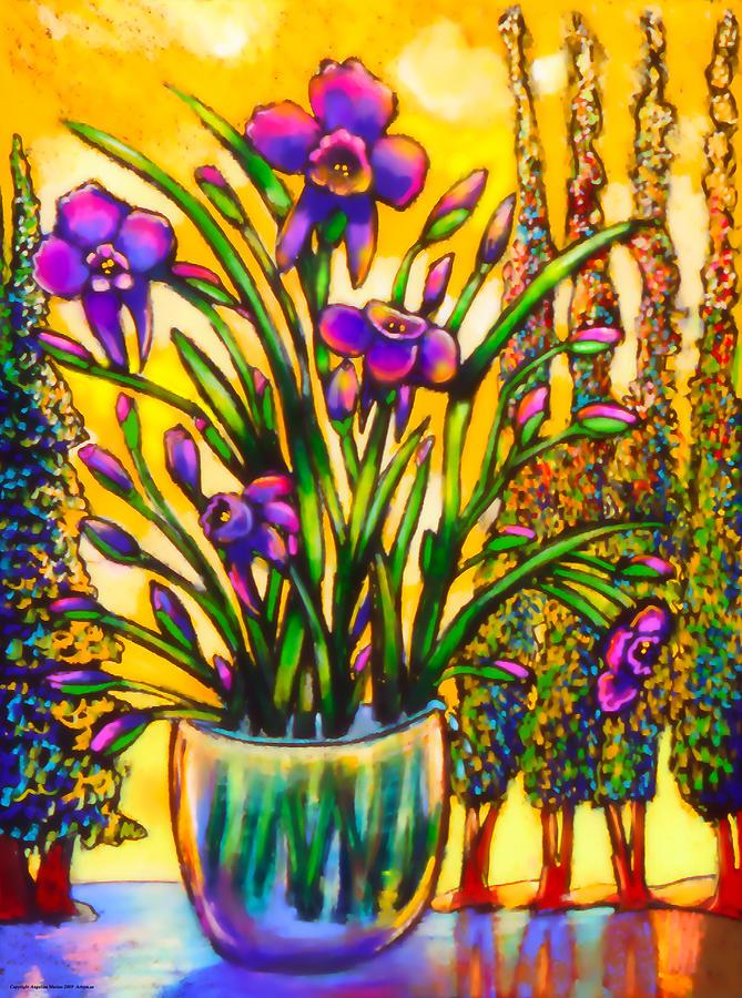 Floral Painting - Iris by Angelina Marino
