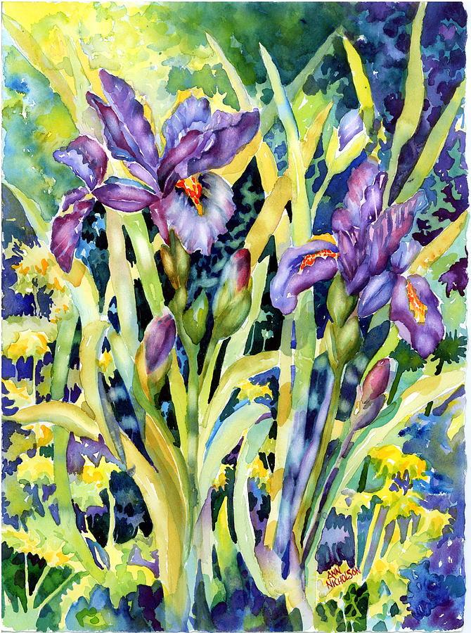 Purple Irises Painting - Iris by Ann  Nicholson
