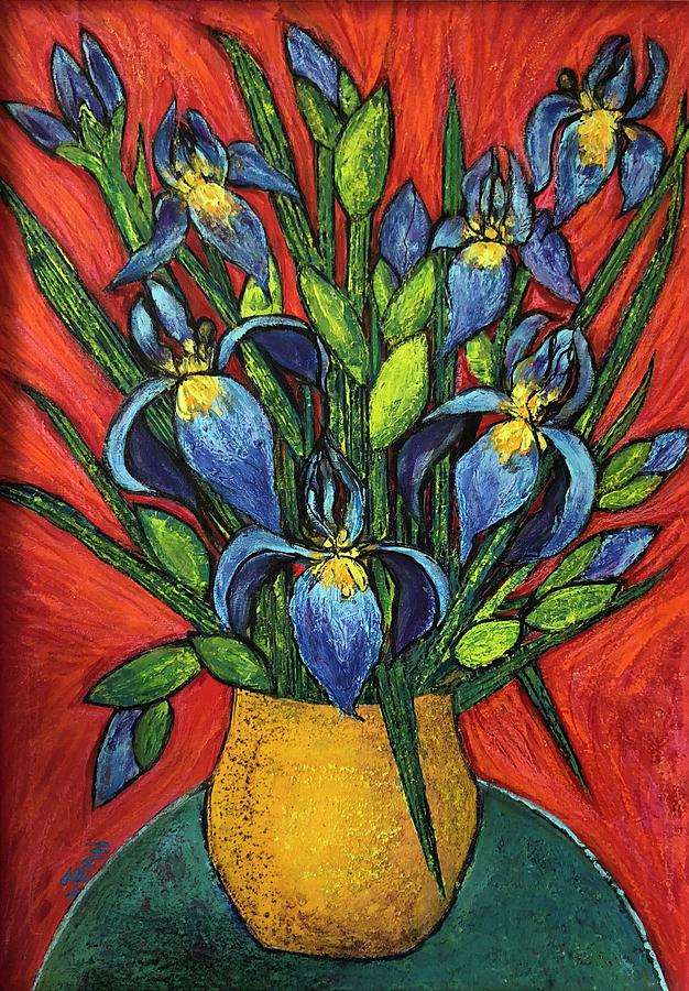 Iris Bouquet In The Yellow Vase With The Red Background Painting By