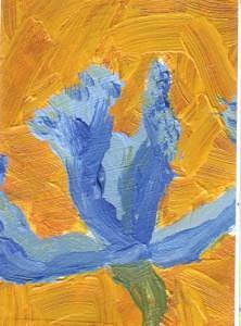 Atc Painting - Iris by Cathey Bayless