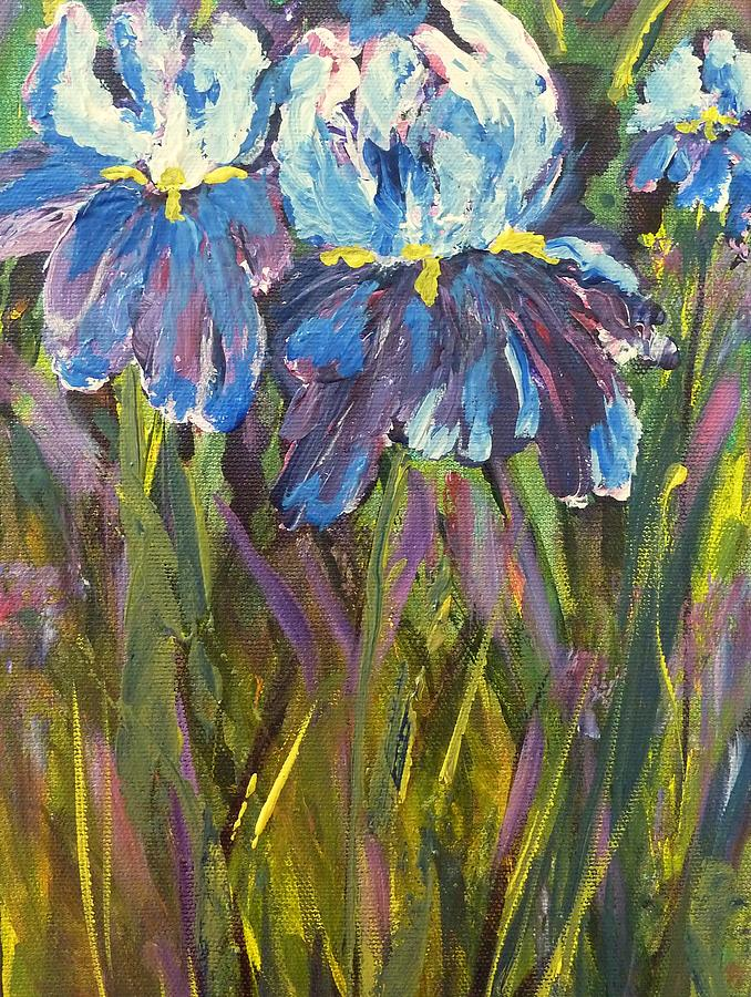 Iris Painting - Iris Floral Garden by Claire Bull