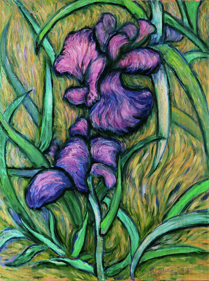 Iris for Vincent - contemporary fauvist post-impressionist oil painting original art on canvas by Xueling Zou