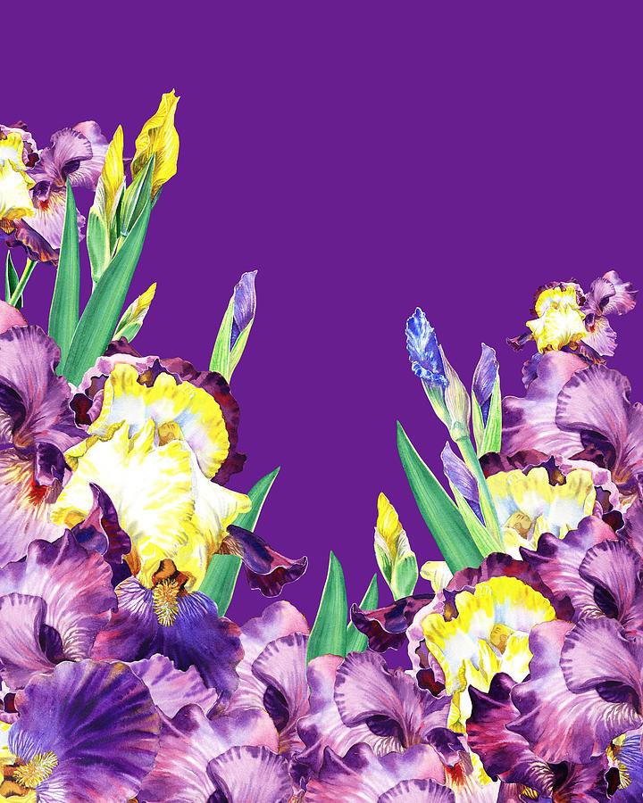 Iris Garden Purple Sky Painting
