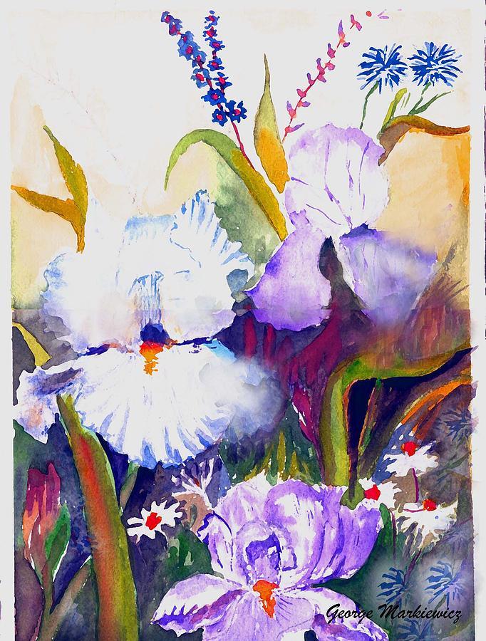 Flowers Print - Iris by George Markiewicz
